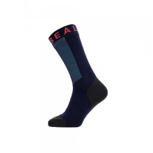 Skarpety wodoodporne Sealskinz Warm Weather Mid Length Hydrostop Navy Blue/Grey/Red M 39-42