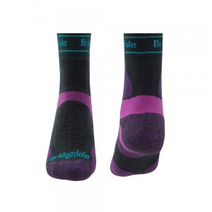 Skarpety Bridgedale Ultralight T2 Merino Sport 3/4 Crew charcoal/purple L 41-43